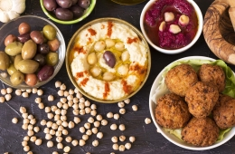 Hummus and falafel with spices and vegetables