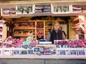 Speckstand am Weihnachtsmarkt