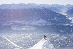 Freeride Skiing at Nordkette above Innsbruck