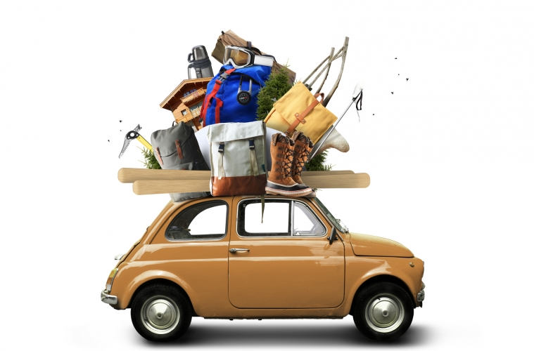 Adventure and tourism, small car with tourist equipment